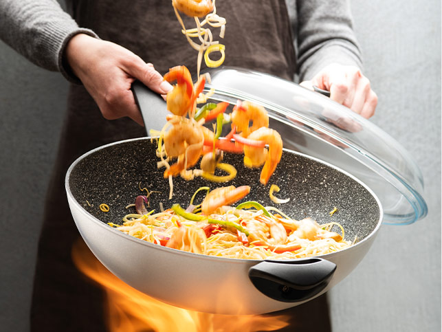 Delimano Green Planet Wok With Glass Lid
